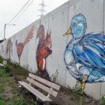Fresque d'un canard, d'un écureuil, d'une poule, d'un renard